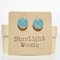 Blue sparkle studs post earrings blue sparkle summer resin jewelry eco fashion wood earrings Minimalist jewelry  eco friendly eco fashion