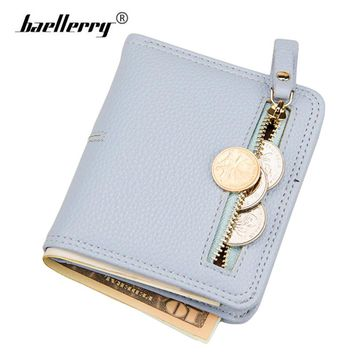Women Wallet Leather Female Short Card Holder Coin Purse Girl Brand Mini Billfold Minimalist Thin Wallets portefeuille femme