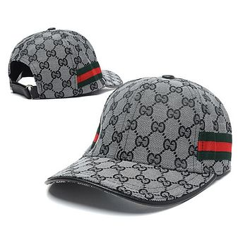 GUCCI Classic Vogue Boys Girls Embroidery Sports Sun Hat Baseball Cap Hat Grey