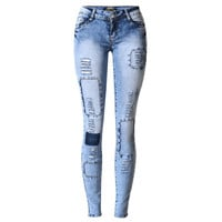 Skinny Blue Jeans for Woman Holes Jeans For Women Jean Slim Femme Womens Jeans Elastic Patchwork Pantalones Vaqueros Mujer 2017