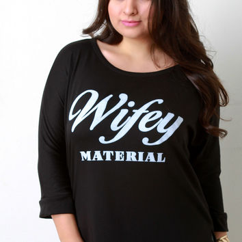 Wifey Material Graphic Quarter Sleeves Top