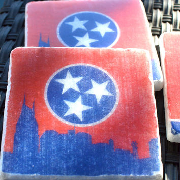 Choice of Nashville, Knoxville, Chattanooga, Skyline Marble Coasters, Tennessee Tri-Star, University of Tennessee, UT