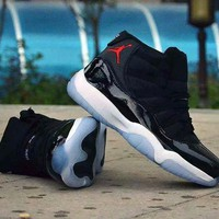 """""""Nike Air Jordan 11"""" Unisex Casual Fashion Leather Surface High Help Basketball Shoes Couple Sneakers"""