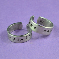 to infinity and beyond - Hand Stamped Aluminum Couples Ring Set, Adjustable Skinny Rings, Handwritten Font Version