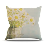 "Laura Evans ""O Daisy"" Green Yellow Throw Pillow, 16"" x 16"" - Outlet Item"