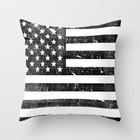 Dirty Vintage Black and White American Flag Throw Pillow by RexLambo