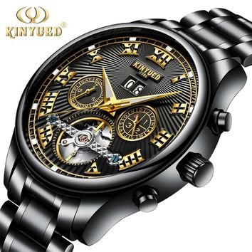 KINYUED Skeleton Automatic Flying Tourbillon Leather/Steel Strap Mechanical Watch Self Winding Horloges with Watch Box