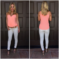 Step Aside Wrap Tank - Neon Coral