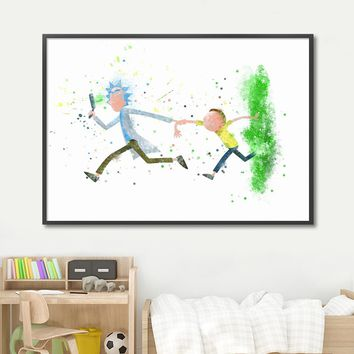 Abstract Rick And Morty Wall Art Canvas Painting Nordic Posters And Prints Watercolor Pop Art Wall Pictures For Kids Room Decor