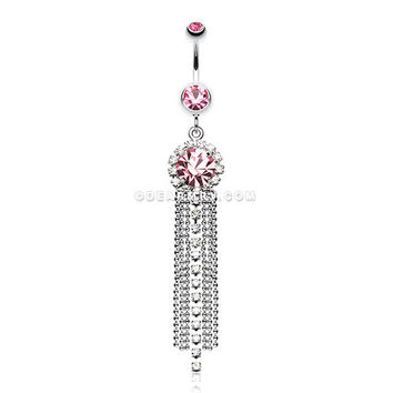 Chandelier Bead Chain Sparkle Belly Ring (Light Pink)