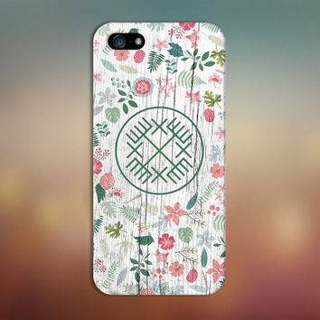 Geometric Tribal Spring Flowers x White Wood Phone Case for iPhone 6 6 Plus iPhone 5 5s 5c 4 4s Samsung Galaxy s6 s5 s4 & s3 and Note 5 4 3