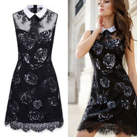 Hot!!! 2016 New Sexy Women Girl High Quality Fshion  Sexy Women Lace Patchwork sleeveless Peter Pan Collar Dress