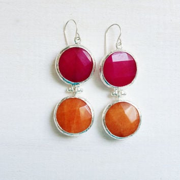 LARGE dangle long  DUAL bright fuchsia pink and citrus orange gemstone earringssilver gemstone earrings Israel jewelry