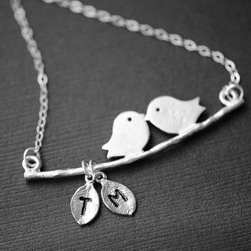 LOVE BIRD Necklace Two Initial Leaves,Mom and Child, Mothers Necklace, Initial Necklace, Personalized Jewelry, As Seen in ETSY Finds