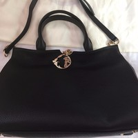 Versace Pebbled Leather Shoulder Bag-Black