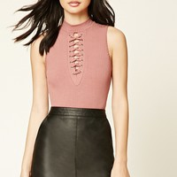 Lace-Up Mock Neck Bodysuit