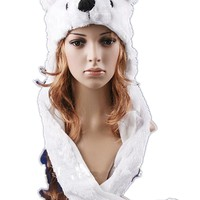 2017 Hot sale Fashion Cartoon animal Lovely cute fluffy Polar Bear Hat cap with mitten Muffler,white/pink/brown Free Shipping