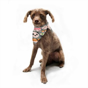 "bruxamagica ""Kawaii Sushi Gray"" Gray Multicolor Food Pattern Digital Illustration Pet Bandana"