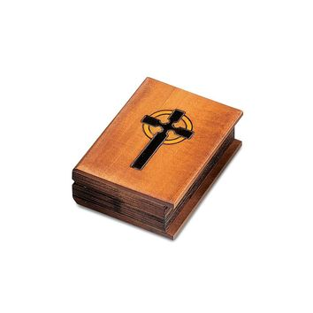 Wooden Hand Carved & Stained Bible Box - Perfect Religious Gift