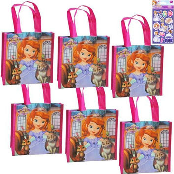 6-Pack Disney Junior Sofia The First Party Supply Reusable Tote Bag Set - 6 Reusable Small Non-Woven Disney Jr. Princess Soifa The First Tote Bags (8 inches x 7.5 inches x 3 inches) PLUS Bonus Princess Sofia Stickers