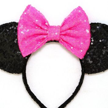 Black Sequin Ears and Hot Pink Bow
