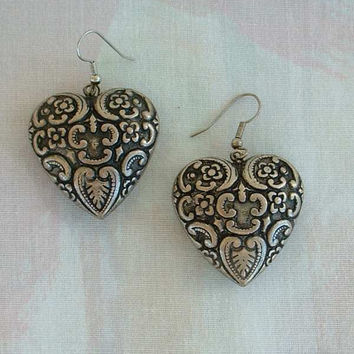 Large Niello Puffed Hearts Dangle Earrings Wires Vintage Jewelry