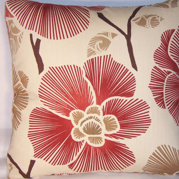 "Rust Ivory Tan Contemporary Floral Throw Pillow 17"" Square Oriental  Flowers Branches Ready Ship Insert Included"