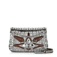 Roberto Cavalli Designer Handbags Regina Silver Embossed Croco Leather Shoulder Bag W/Crystals