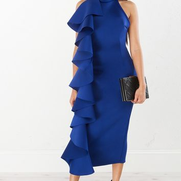 Ruffle Detail Dress in Ivory, Blue and Black