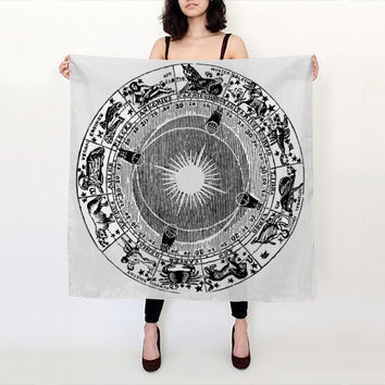 Zodiac Chart Scarf - Astrology Map -  Black and White - Graphic Scarf - Silk Scarf