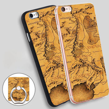 Lord of The Ring Middle Earth Map Phone Ring Holder Soft TPU Silicone Case Cover for iPhone 4 4S 5C 5 SE 5S 6 6S 7 Plus