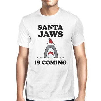 Santa Jaws Is Coming Mens White Shirt