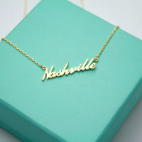 Nashville necklace, Home of Country Necklace, Dainty Cursive Nashville Necklace, Tennessee Necklace, Tennessee Pendant, Country Girl