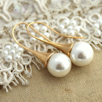 Bridal bridesmaids jewelry  - 14K Vermeil earrings with white Majorica perfect white pearls.