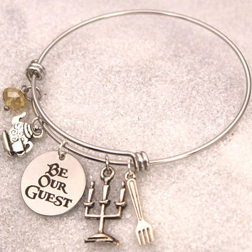 Be Our Guest Engraved - Bracelet Beauty and The Beast DISNEY Inspired Bracelet, Custom Name Charm Bracelet, Lumiere, Stocking Stuffer Gift