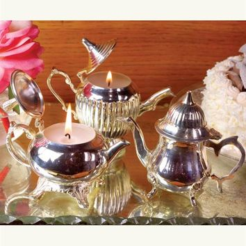 Les Petites Teapot Candles (Set Of 3) - Silver Teapot Candles, Vanilla Scented Candles