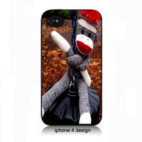 Sock Monkey  iphone 4 cell phone accessory case, Iphone case, Iphone 4s case, Iphone 4 cover, i phone case, i phone 4s case