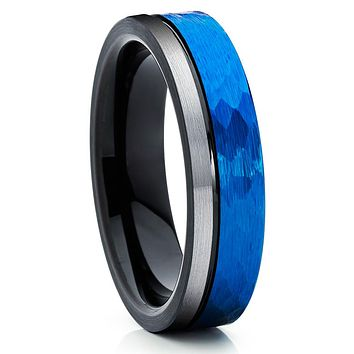Blue Tungsten Ring - 6mm - Black Tungsten - Tungsten Wedding Band