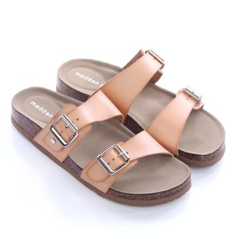 f1fff64a04f7 Nude Double Buckle Sandals - Madden Girl