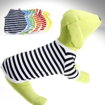 Summer Dog Clothes Vest T-shirt Sun Rainbow Dogs Goods For Pets Colorful Blouses Blouse Men's T Shirts Women Small Stripe Polo