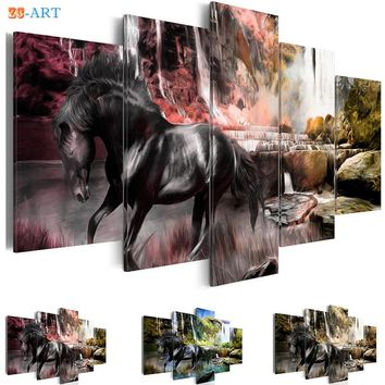 Horse Prints Waterfull Poster Canvas Art 5 Pieces Nature Animal Wall Painting