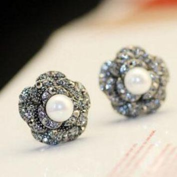 Exquisite luxury temperament camellia flower with tiny zircon pearl earring nail female