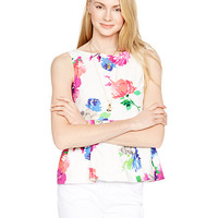 Kate Spade Blooms Peplum Top Fresh White