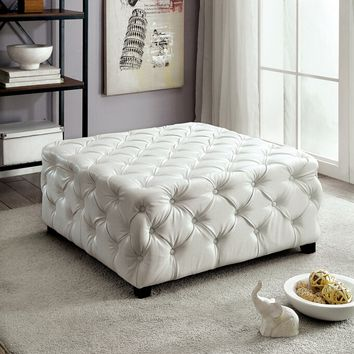Regina collection white bonded leather tufted square ottoman foot stool