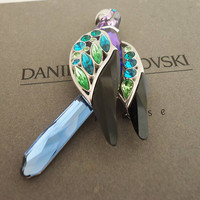 Daniel Swarovski Crystal Parrot Paradise, Swarovski Bird Brooch, Large Brooch by Daniel Swarovski with Original Box