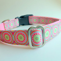 Spring Dog Collar / Feminine Girley Collars and Leashs  All Sizes Small Medium and Large Dogs /  Custom Dog Collar for Female Dog