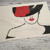 Finished Completed Cross Stitch . Retro Woman . Cross Stitch Sampler . Stylised Girl with Hat in Black and Red . Embroidery Art .