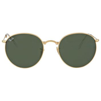 Ray-Ban Round Gold Frame Green Lens Sunglasses