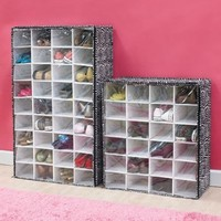 Large 36-pr Shoe Holder Chest Fabulous Animal Print Zebra Storage Closet Black White Organizer Rack