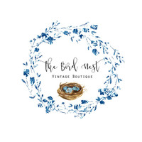 Premade Logo - Watercolor Wreath Logo - Birds Nest Logo - Boho Logo- Vintage Logo- Boutique Logo - Cottage Chic - Blue Logo- Circle Logo